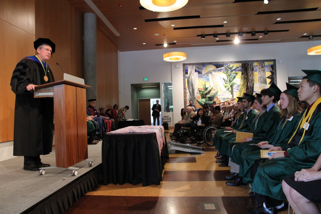 University of Oregon President Michael Gottfredson and Phi Beta Kappan (Kappa of California Chpater, UC-Davis)addresses the 2013 members-elect