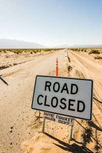 Road Closed sign in Death Valley