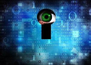 Eye peering through computer code