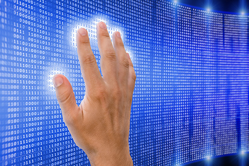 Hand on digital matrix