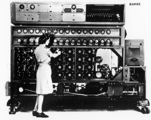 A woman works on the American Bombe. Image in public domain.