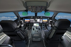 Photo of modern airplane flying on autopilot.