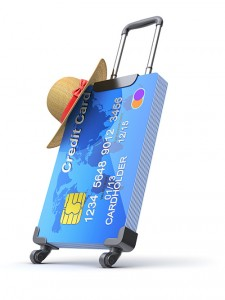 Credit card on wheels with a straw hat.