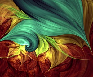 Colorful computer generated fractal art in swirls of browns, greens and golds.