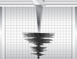 Illustration of seismometer graph, indicating a period of seismic activity.