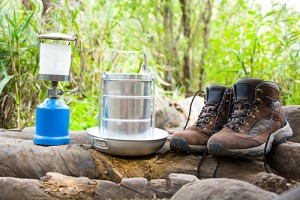 Photograph of hiking and camping equipment.