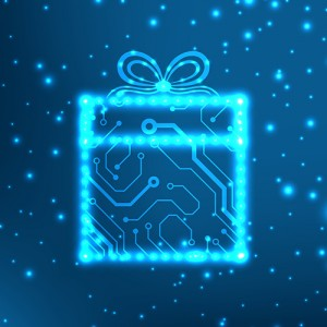 Image of the outline of a Christmas gift against a bitmap background.
