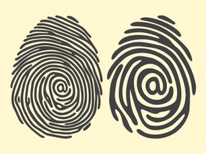 Black and white drawing of two fingerprints.