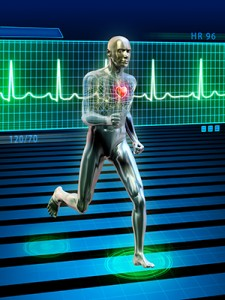 Conceptual image of a running man and his heart rate.