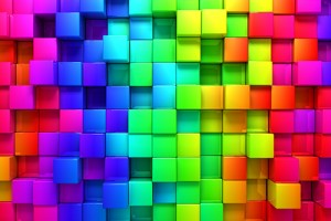 A rainbow of color blocks.