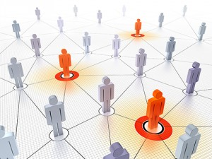 Key figures in a connected crowd.