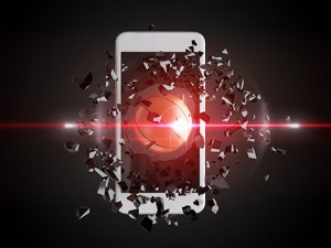 Basketball bursts through cell phone.