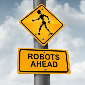 Road sign: Robots Ahead.