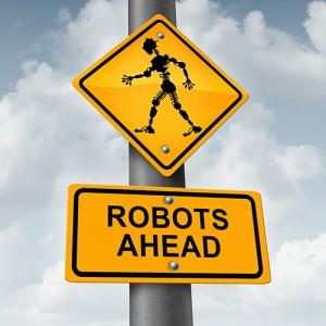 Road sign: Robots Ahead.