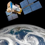 Photo of weather satellite orbiting Earth.