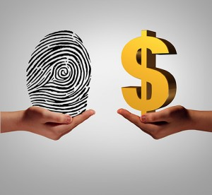 Fingerprint weighted against a dollar sign.
