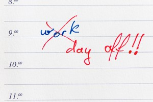 "Image of day planner with work x-ed out and ""day off"" written in."