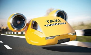 Image of bright yellow flying car taxi.