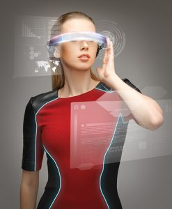 Photograph of woman wearing futuristic high-tech glasses.
