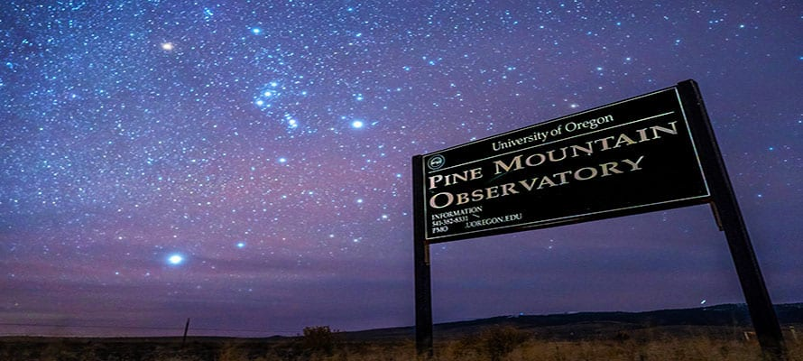 Entrance to PMO featuring Orion in the dusk sky
