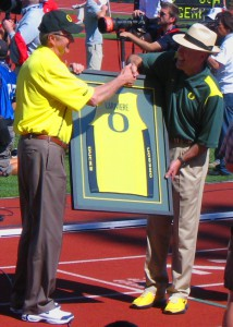 Dave Frohnmayer, University of Oregon's retiring president, and Richard Lariviere, the University's newly selected president - 2009 USATF National Championships, Hayward Field, University of Oregon.