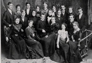 """""""Recently resurrected portrait of Oregon's class of '99,"""" Old Oregon 21, no. 6 (February 1940), 8."""
