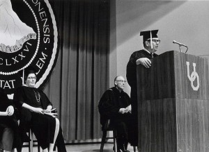 Margaret Nichols (seated at left) during 1986 spring commencement (UA REF 3, Box 32, Folder 4)
