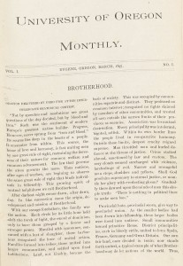 Front page of the first edition of the Oregon Monthly