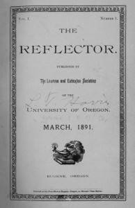 Cover from the first edition of The Reflector. (Laurean and Eutaxian Societies' records, UA 125, box 15)