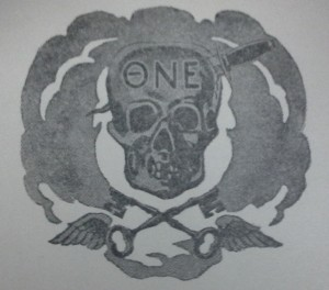 Logo from Theta Nu Epsilon stationery (UA 135, University of Oregon Archives and Special Collections)