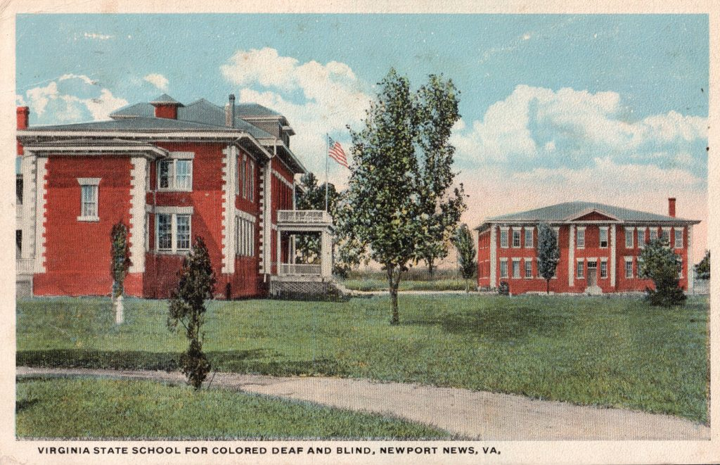 Postcard depicting the Virginia School for Colored Deaf and Blind Children, Newport News, ca. 1909