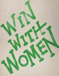 "Political poster that reads ""Win with Women"""
