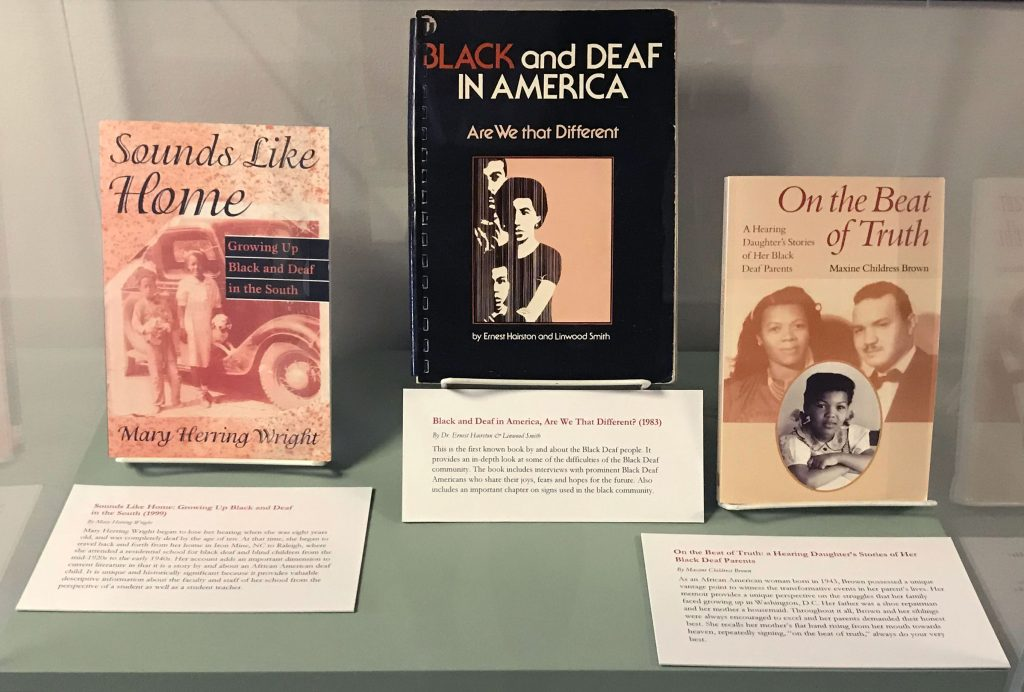 Books on display in exhibit.