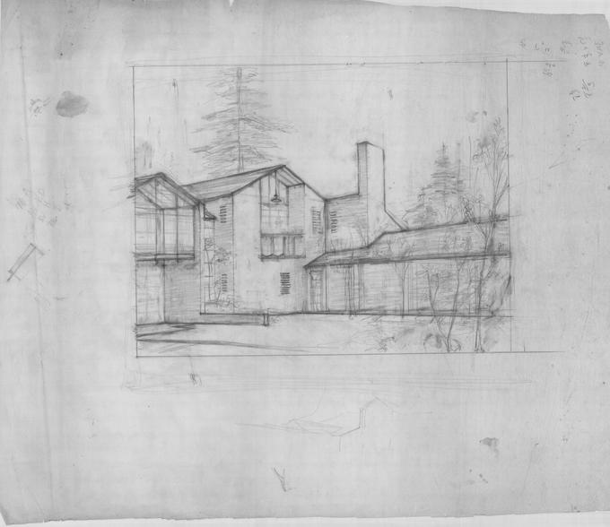 Drawing of residential house facade.