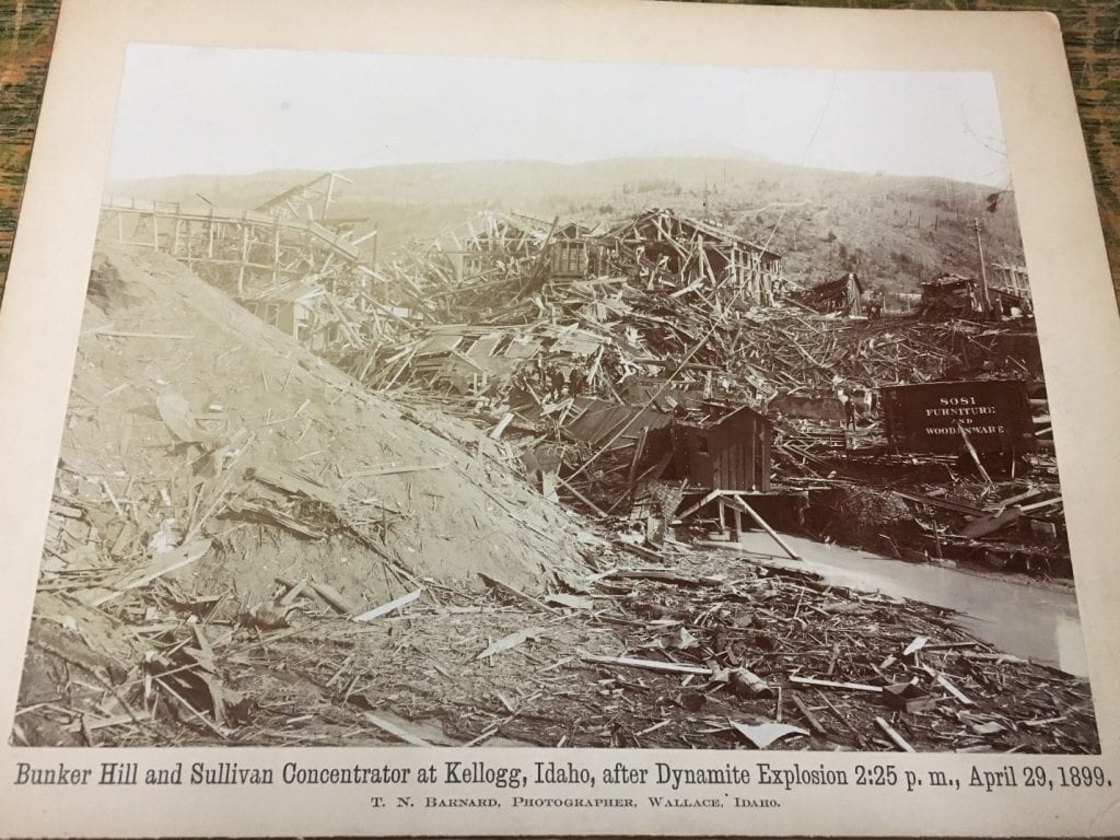 Scattered remains of wood from dynamite explosion of a structure.