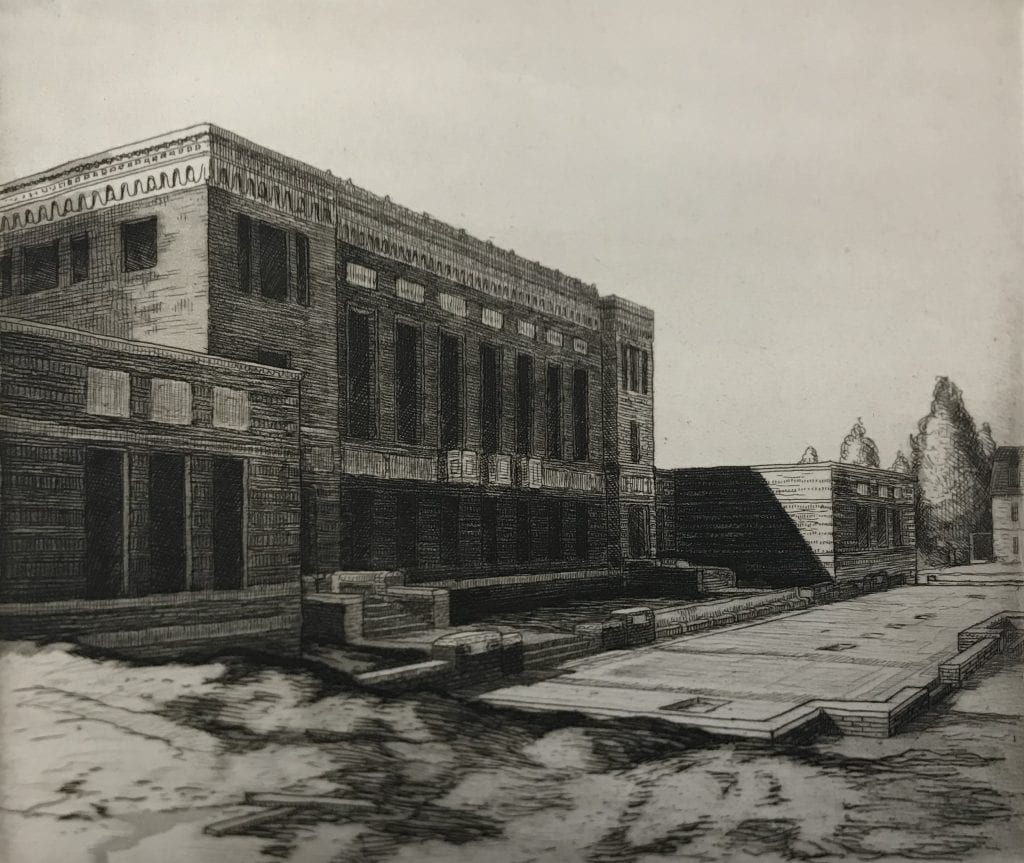 Etching of the University of Oregon Knight Library during construction
