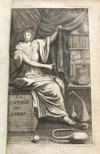 Engraving showing a robed woman pulling back a curtain to show books and vessels.