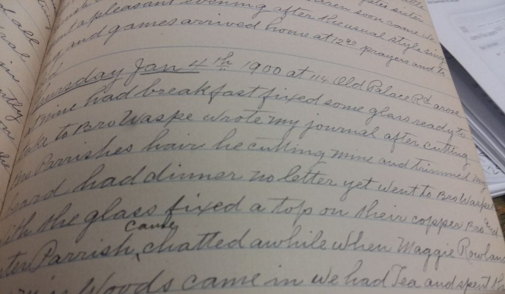 Detail of diary page entry dated 1/4/1900