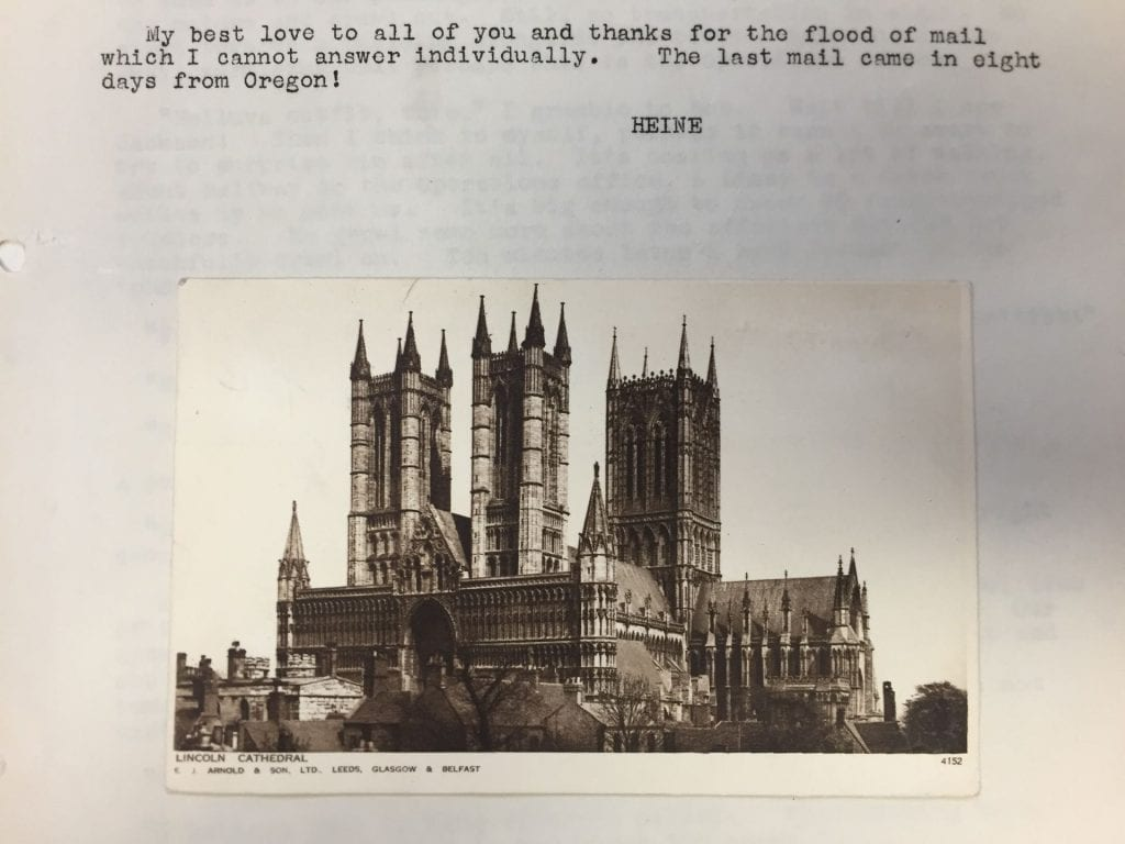 Typed letter with postcard with cathedral