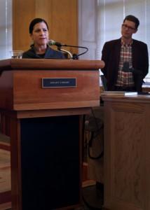 UO Center for Global Health co-director, Kristin Yarris, introducing guest speaker Bob Reinhardt.
