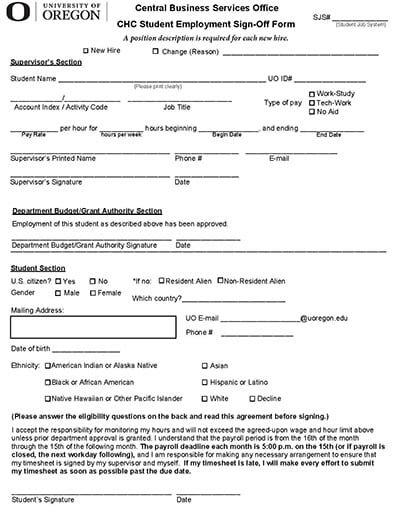 CHC Student Employment Sign-Off Form