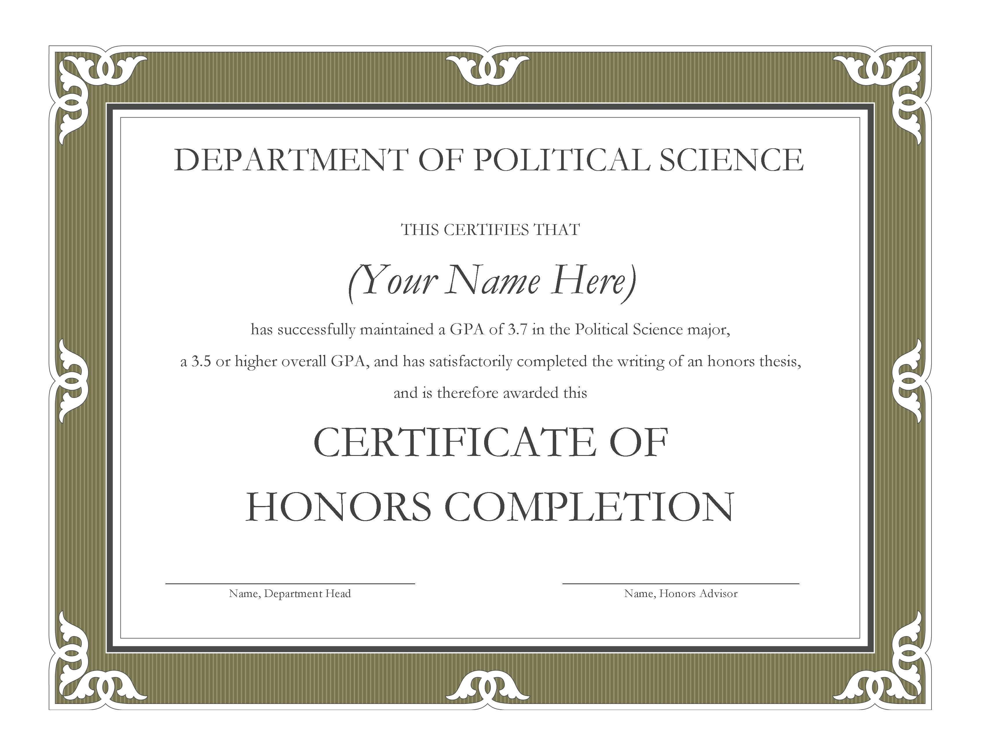 Graduate With Political Science Honors An Undergraduate Research