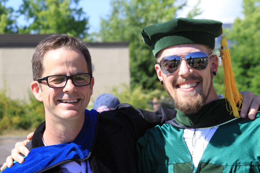 Josh and his advisor, Joe Lowndes, are all smiles after the ceremony.