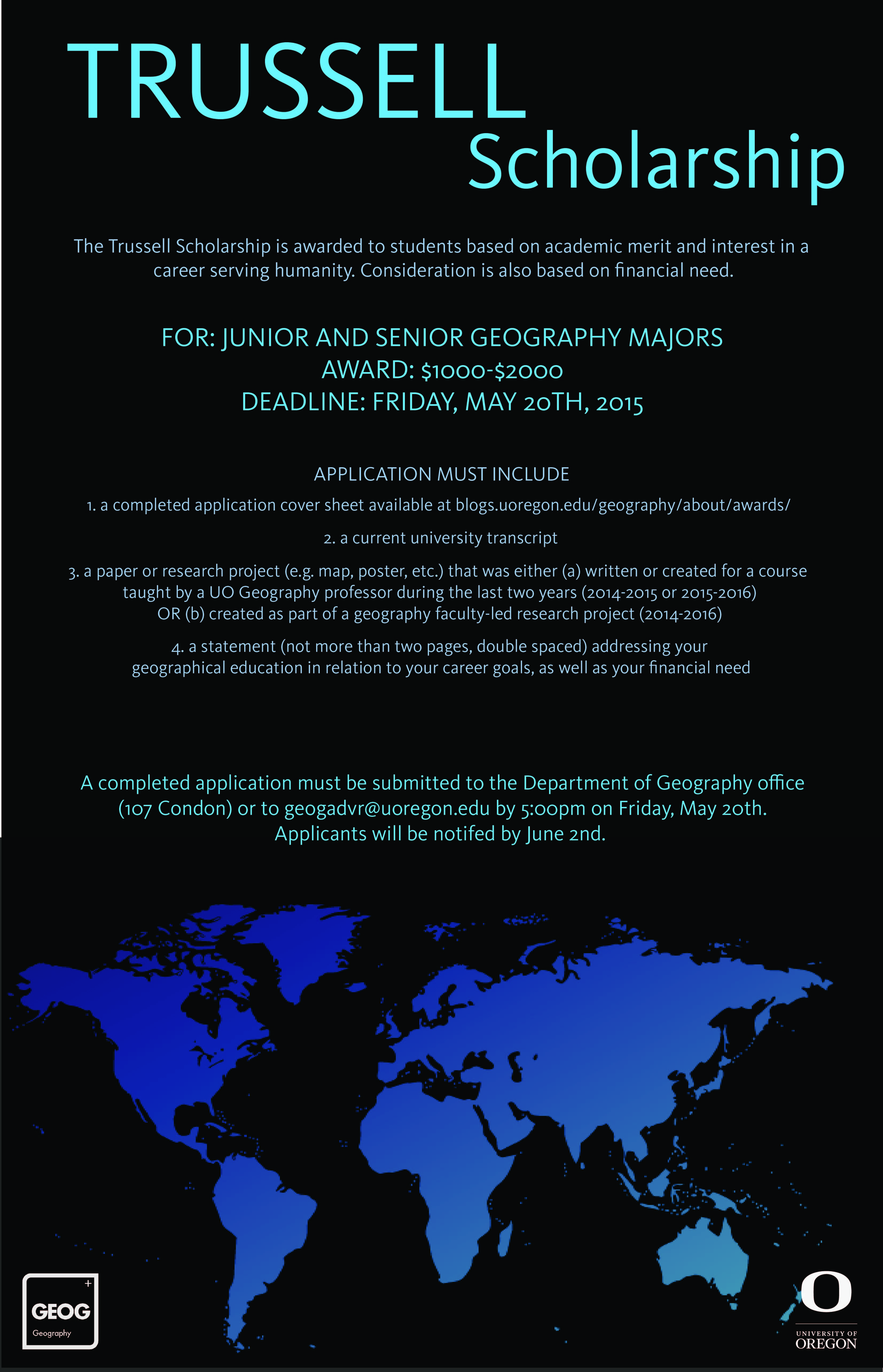 department awards department of geography applicants will be notified by 2nd scholarship recipients will be recognized at the department s graduation ceremony on 19th