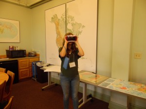 A student using Google Cardboard to tour a city in the Middle East.