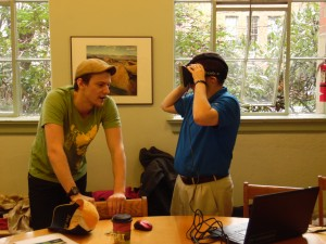 Jacob talking a middle school teacher through Occulus Prime's tour of the Grand Canyon.