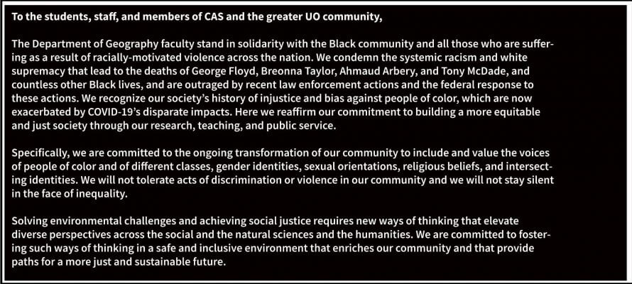 Geography's statement on racial injustice