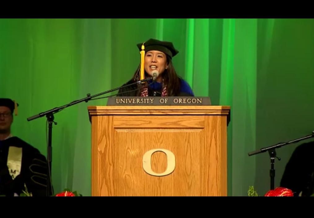 Alicia Ibaraki speaks at the 2016 commencement ceremony.