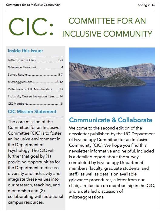 CIC Spring 2016 Newsletter
