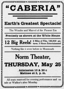 Advertisement for Caberia at Norm Theatre in Monmouth, OR